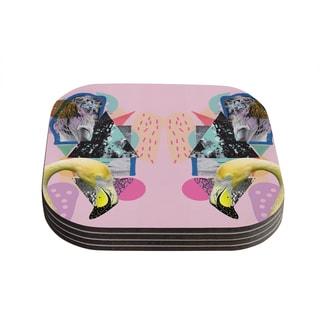 Vasare Nar 'Flamingo Tropical' Coasters (Set of 4)