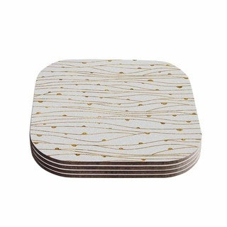 888 Design 'Golden Stripes Pattern' Abstract Gold Coasters (Set of 4)