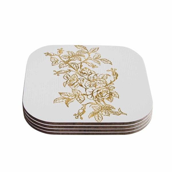 888 Design 'Golden Vintage Rose' Floral Digital Coasters (Set of 4)