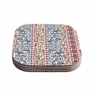 Victoria Krupp 'Arabesque Panel' Multicolor Abstract Coasters (Set of 4)
