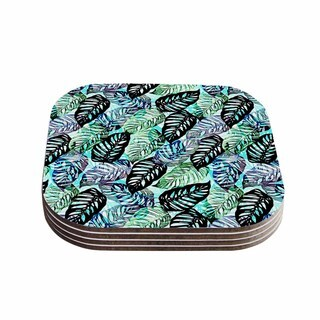 Victoria Krupp 'Tropical Leaves' Green Nature Coasters (Set of 4)