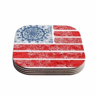 Victoria Krupp 'Americana Mandala Flag' Red Holiday Coasters (Set of 4)