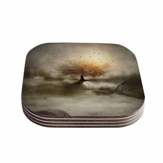 Viviana Gonzalez 'Lone Tree Love IV' Brown Nature Coasters (Set of 4)