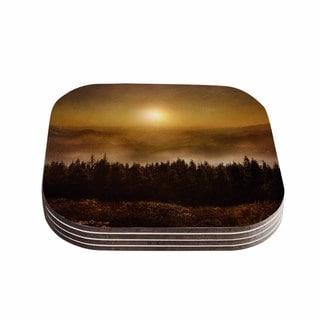Viviana Gonzalez 'The Awakening' Orange Brown Coasters (Set of 4)