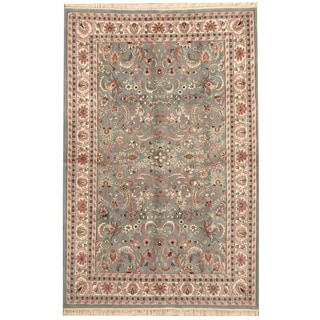 Herat Oriental Indo Hand-knotted Kashan Blue/ Ivory Wool Rug (6' x 9'2)