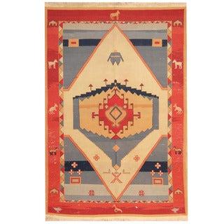 Herat Oriental Indo Hand-woven Soumak Kilim Ivory/ Red Wool Rug (5'10 x 8'8)