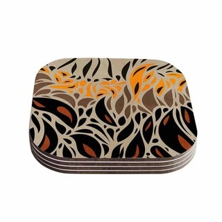 Viviana Gonzalez 'Africa - Abstract Pattern I' Brown Orange Coasters (Set of 4)