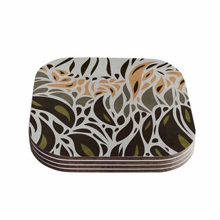 Viviana Gonzalez 'Africa - Abstract Pattern II' Gray Green Coasters (Set of 4)