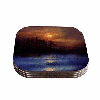Viviana Gonzalez 'Hope In The Blue Water' Brown Orange Coasters (Set of 4)