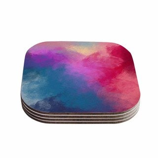 Viviana Gonzalez 'ABSTRACT 01' Pink Blue Coasters (Set of 4)