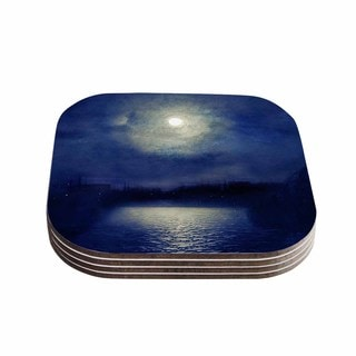 Viviana Gonzalez 'Magnolia' Blue Moonlight Coasters (Set of 4)