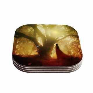 Viviana Gonzalez 'Autumn Song' Yellow Tree  Coasters (Set of 4)