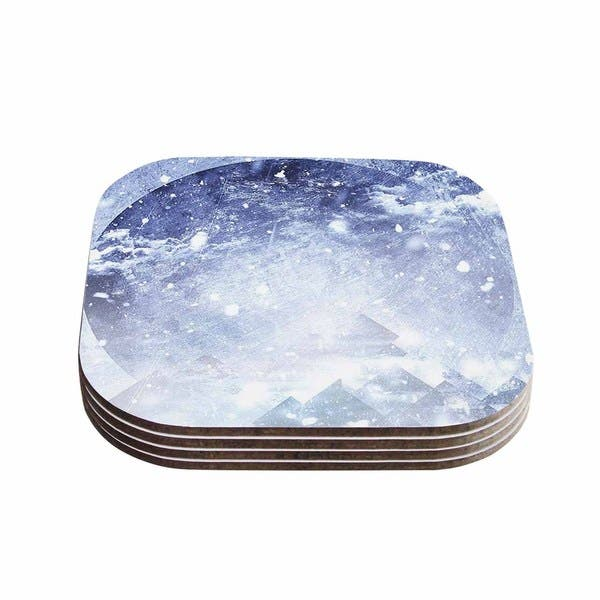 Ulf Harstedt 'Even Mountains Get Cold' Blue White Coasters (Set of 4)
