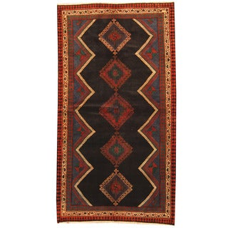Herat Oriental Persian Hand-knotted 1960s Semi-antique Tribal Hamadan Black/ Ivory Wool Rug (5'1 x 9'5)