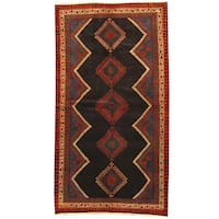 Herat Oriental Persian Hand-knotted 1960s Semi-antique Tribal Hamadan Wool Rug (5'1 x 9'5) - 5'1 x 9'5