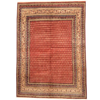 Herat Oriental Persian Hand-knotted 1960s Semi-antique Tribal Mir Red/ Ivory Wool Rug (6'8 x 9'3)