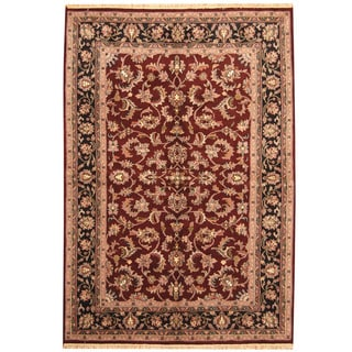 Herat Oriental Indo Hand-knotted Kashan Red/ Black Wool Rug (6'2 x 9')