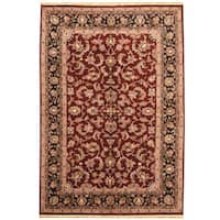 Handmade Herat Oriental Indo Kashan Wool Rug  - 6'2 x 9' (India)