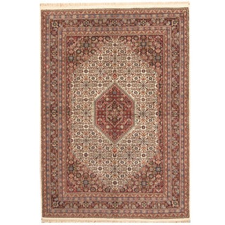 Herat Oriental Indo Hand-knotted Bidjar Ivory/ Black Wool Rug (6' x 9'1)