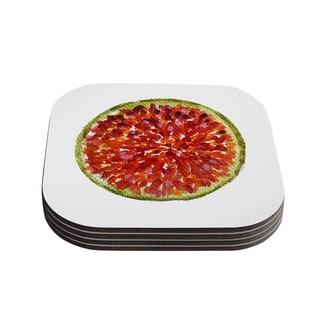 Theresa Giolzetti 'Passion Fruit' White Red Coasters (Set of 4)
