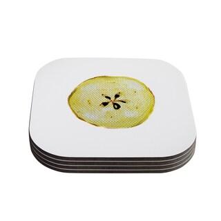 Theresa Giolzetti 'Apples' Yellow White Coasters (Set of 4)