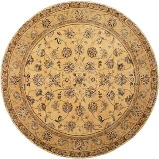 Herat Oriental Indo Hand-tufted Tabriz Gold/ Green Wool & Silk Round Rug (6' x 6')