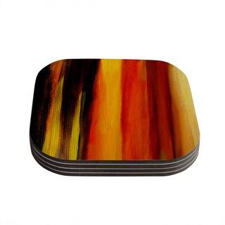 Theresa Giolzetti 'Firework' Yellow Orange Coasters (Set of 4)