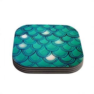 Theresa Giolzetti 'Mermaid Tail' Teal Blue Coasters (Set of 4)