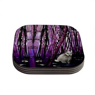Theresa Giolzetti 'Bamboo Bunny' Purple Black Coasters (Set of 4)