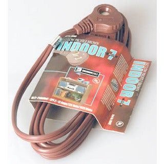 Coleman Cable 09407 7' 16/2 Brown SlenderPlug Indoor Cube Tap Extension Cord