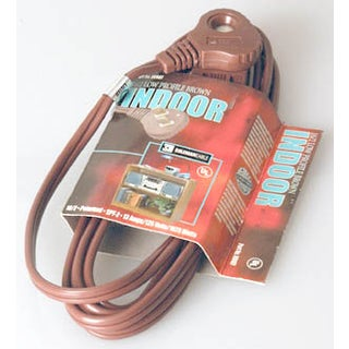 Coleman Cable 09409 11'16/2 Brown SlenderPlug Indoor Cube Tap Extension Cord