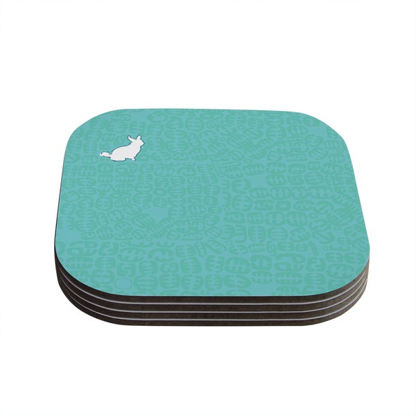 Theresa Giolzetti 'Oliver' Teal Coasters (Set of 4)