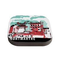 Theresa Giolzetti 'Montmartre' Teal Coasters (Set of 4)