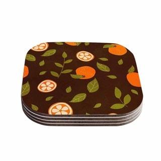 Strawberringo 'Orange Pattern' Abstract Food Coasters (Set of 4)