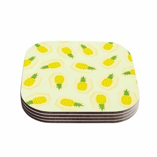 Strawberringo 'Pineapple Pattern' Yellow Fruit Coasters (Set of 4)