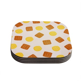 Strawberringo 'Do You Love Biscuits?' Brown Yellow Coasters (Set of 4)