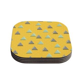 Strawberringo 'Triangles' Yellow Geometric Coasters (Set of 4)