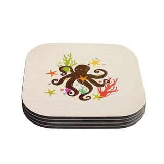 Strawberringo 'Friends Around the Sea' Octopus Tan Coasters (Set of 4)