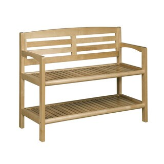 New Ridge Home Abingdon Blonde Solid Birch Wood Large Bench with Back