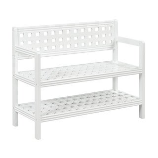 New Ridge Home Beaumont White Solid Birch Wood Large Bench With Back