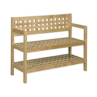 New Ridge Home Beaumont Blonde Solid Birch Wood Large Bench With Back