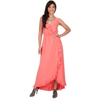 Koh Koh Women's Polyester/Spandex Slimming Sleeveless Summer Ruffled V-Neck Wrap Maxi Dress