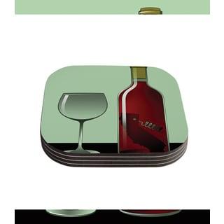 Thomas Fuchs 'California Wine' Green Red Coasters (Set of 4)