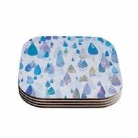 Noonday Design 'Rain Storm' Digital Purple Coasters (Set of 4)
