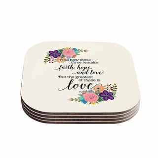 Noonday Design 'Faith, Hope, And Love' Beige Multicolor Coasters (Set of 4)