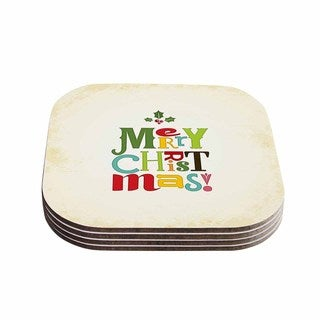 Noonday Design 'Merry Christmas' Beige Green Coasters (Set of 4)