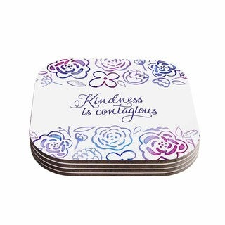 Noonday Design 'Kindness Is Contagious' Purple Magenta Coasters (Set of 4)