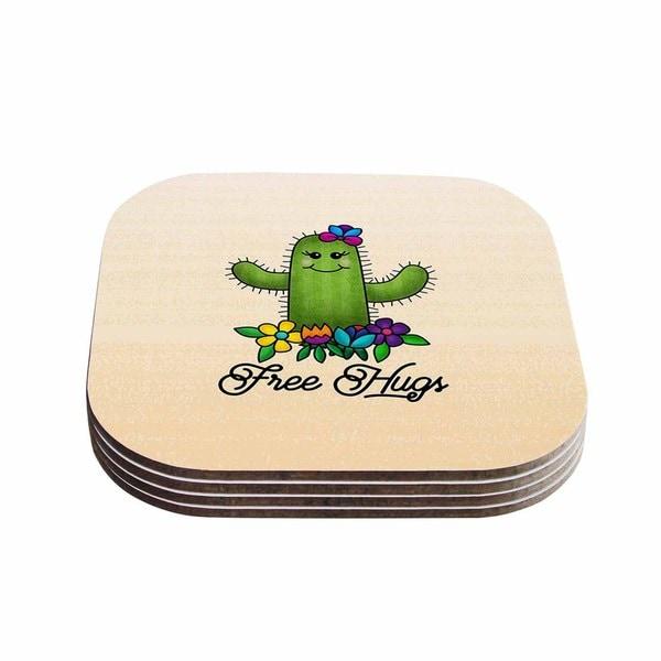 Noonday Design 'Free Hugs Cactus' Green Pastel Coasters (Set of 4)