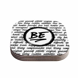 Noonday Design 'Be...' Black White Coasters (Set of 4)