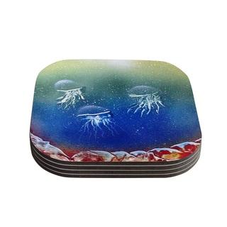 Infinite Spray Art 'Underwater Aliens' Blue Jellyfish Coasters (Set of 4)